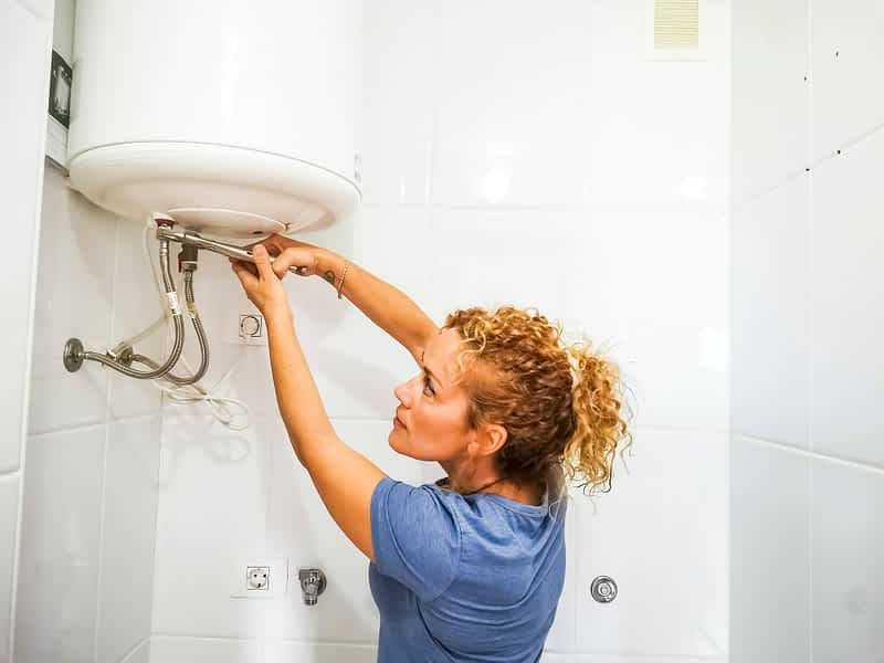 Independence caucasian young woman repair home