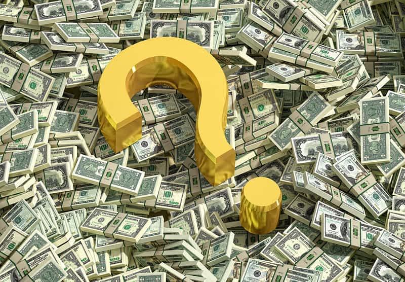 Question Mark on Dollar bills